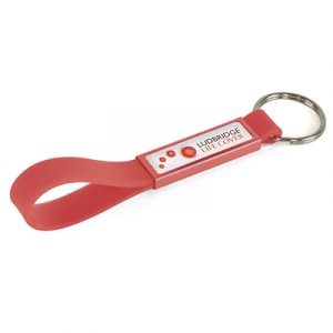 Silicone loop keyring with colour coordinated aluminium panel.