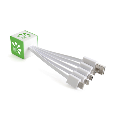 5-in-1 multi charger with bespoke PVC design. Works with most smartphones. Cables available in white. Price includes up to 4 PVX colours.