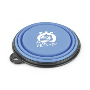 250ml collapsible silicone plastic pet bowl suitable for food and water. Ideal for use when travelling or out and about on walks. Available in Pantone Colours.