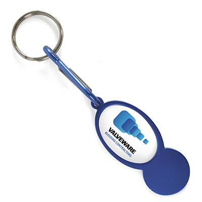 Oval shaped aluminium trolley coin (round style), detachable carabiner clip and split ring.