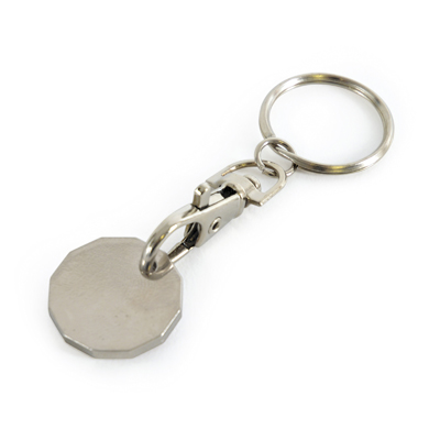 Metal 12-sided trolley coin keyring with detachable trigger clip and split ring attachment. Available with multi-colour imprints on both sides of the coin. 'Express Option Available'.