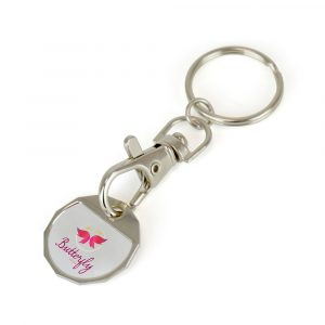 Elimate the stress of shopping with this hassle free trolley coin keyring. Nickel plated with standard hook and split ring attachment.