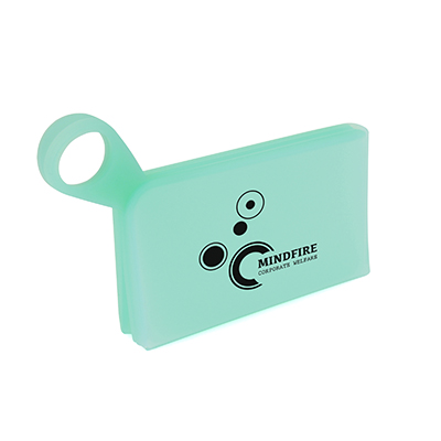 Soft touch mask holder with silver carabiner clip. Can be pantone matched from an MOQ of 1000 pieces.