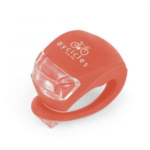 Set of 2 silicone plastic bike lights, 1 red and 1 white light with 3 settings; on, fast flash and slow flash. Available in white and red or Pantone matched from 2500 pieces.