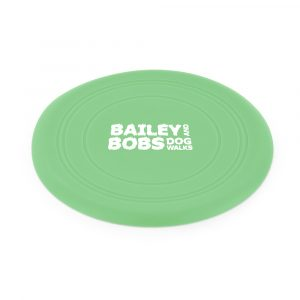 Soft silicone plastic flying disc dog toy with light upturned edges; slim, lightweight and flexible. Ideal for vets, dog walking services or doggy day care. Available in Pantone colours to match your brand.