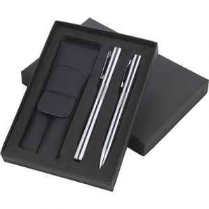 Consort box with pouch containing the Hi-Chrome Ball Pen and Roller Pen