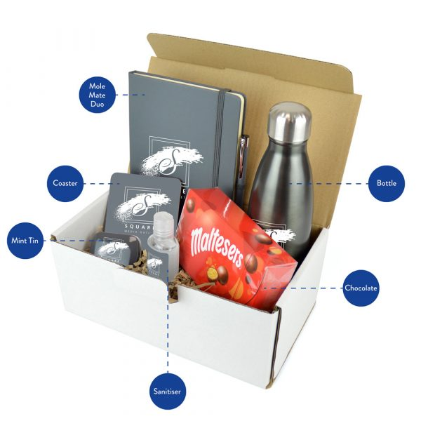 A premium gift set combining core branded merchandise and confectionary - a sweet spot for any marketing campaign! Each set includes the Ashford Bottle, Mole Mate Notebook & Pen, Coaster, Mints, 55ml Hand Sanitiser and chocolates. Available in a range of colours.