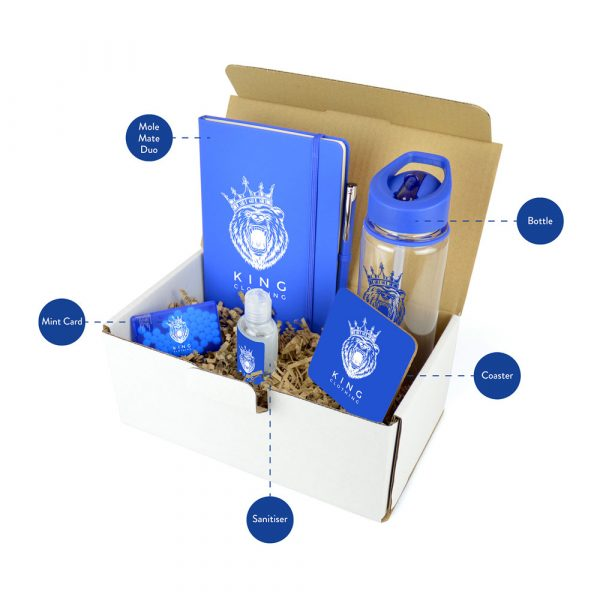 A comprehensive gift set packed with useful promotional items, all branded with your logo. Each set includes the 725ml Evelyn Tritan Sports Bottle, A5 mole Mate Notebook & Pen, Coaster, Mint Card and 55ml Hand Sanitiser.