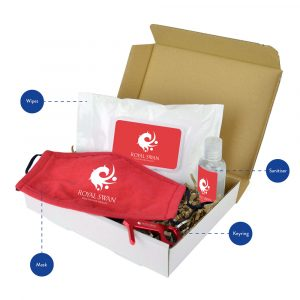 Help keep your employees and customer's safe with this handy, 4 item hygiene pack. The contents include a reusable, 3 ply 130gsm face covering which is 100% cotton with adjustable toggles for comfort. The Hygiene Key to avoid touching common surfaces such as touch screens and door handles, a pocket sized 55ml Sanitiser and a re-sealable case of 30 Antibacterial Wipes.