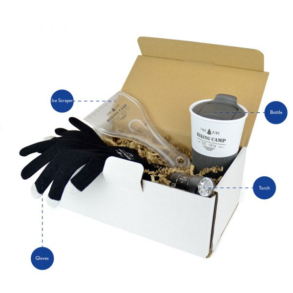 Packed full of practical promo items, the Winter Ready Pack has everything you need for those cold and dark icy mornings! Each pack includes an Ice Scraper, Smart Gloves with touch screen finger tips, and handy LED Torch and easy grip Travel Mug for your morning brew.