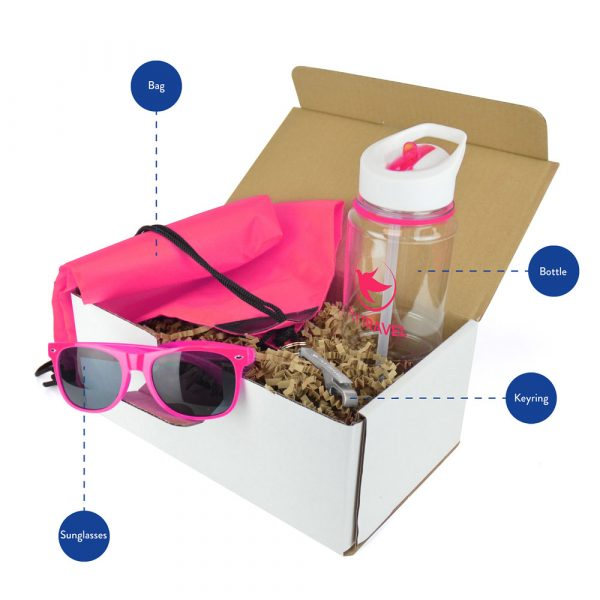 Keep your brand cool this summer with a merch box full of treats! This branded promo pack includes an 800ml Tritan sports bottle for keeping hydration levels in check, Sunglasses, Bottle Opener Keyring and a lightweight Drawstring Bag.