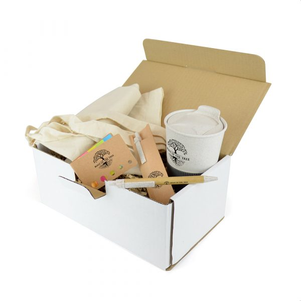 Go green with a corporate Eco gift pack. This sustainable gift boxed set includes a Bamboo Grippy Travel Mug, a wheat and cardboard Jura Pen Set, the matchbook style Poco Paper Flag Holder and a Natural 5oz Shopper - ideal for the environmentally conscious!