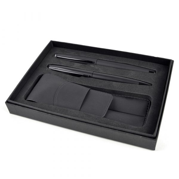 Consort box with pouch containing the Panther ball pen and rollerball